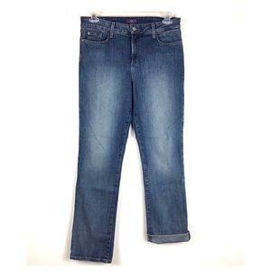NYDJ Straight Jeans High Waist Medium Wash